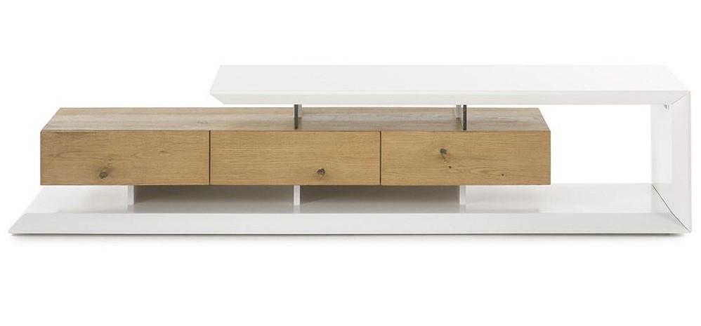 meuble tv design rituel laque blanc et