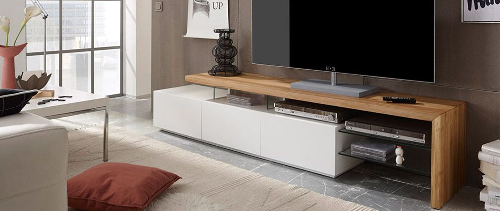 Meuble Tv Design Laque Blanc Media Plateau Chene Pas Cher Meuble Tv Miliboo Iziva Com