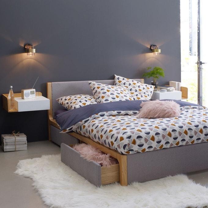 lit avec sommier elori gris bois lit
