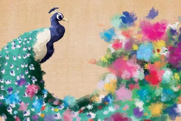 Tableau color Paon Fleuri  Izoa