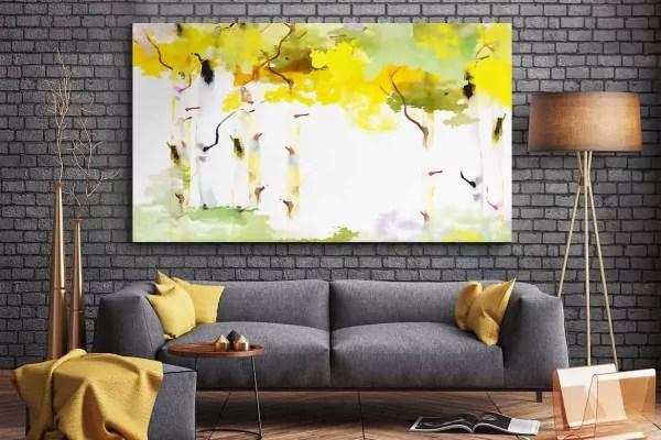 Tableau salon moderne Bouleau blanc en automne  Izoa