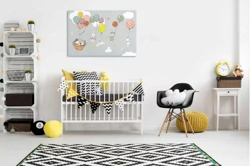 tableau chambre bebe famille lapins