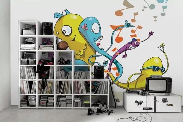 papier peint chambre enfant worms