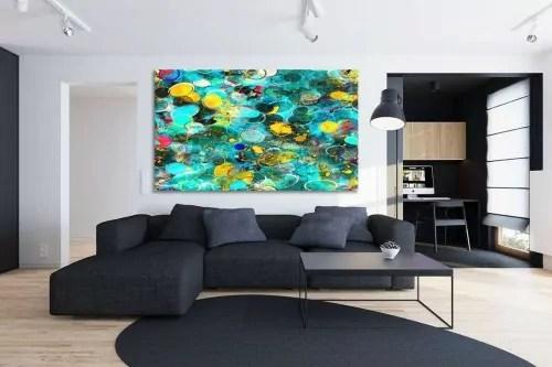 tableau abstrait bleu haut en couleurs