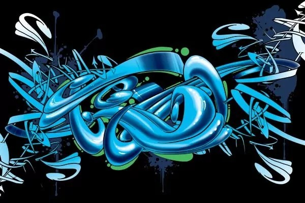 Tableau dco graffiti cyan  Izoa