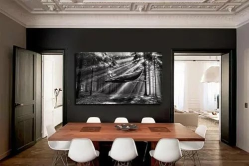 tableau noir et blanc baleine