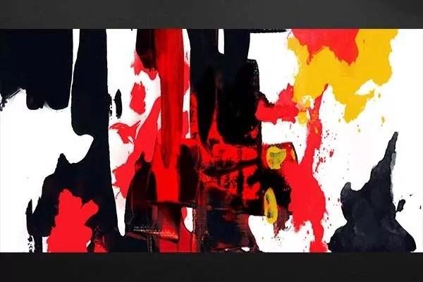 Toile abstraite Colre  Tableau art moderne