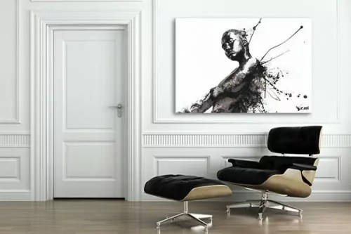 ثابر ماهر عجلة tableaux contemporains en noir et blanc