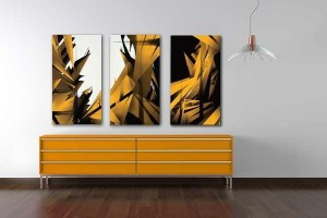Tableau triptyque abstrait Crysway jaune