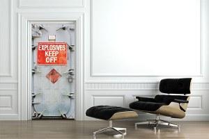 Poster de porte trompe oeil danger explosifs