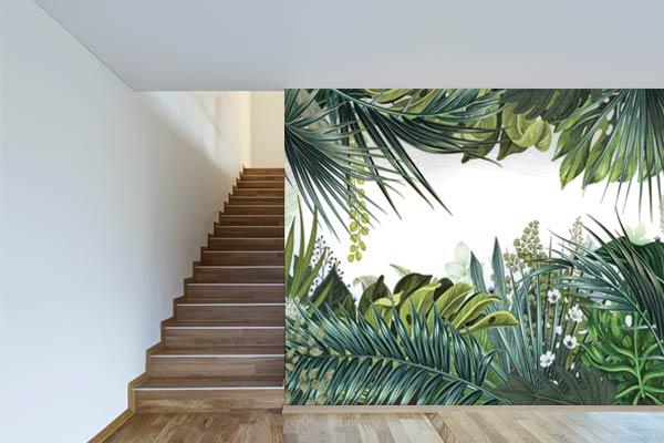 papier peint trompe l il jungle tropicale nouveaut blog toile design et moderne d 39 izoa. Black Bedroom Furniture Sets. Home Design Ideas