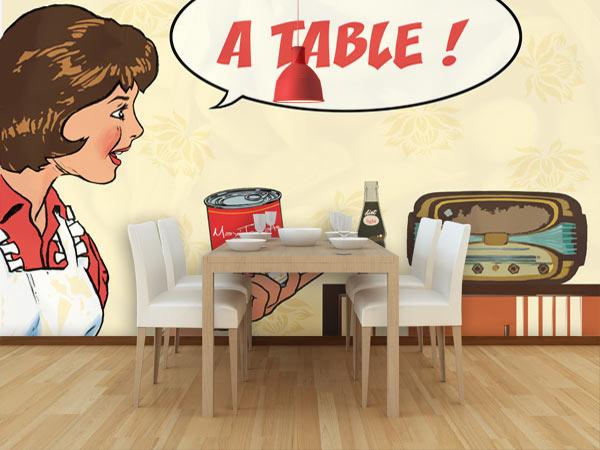 papier peint rétro Izoa décoration restaurant