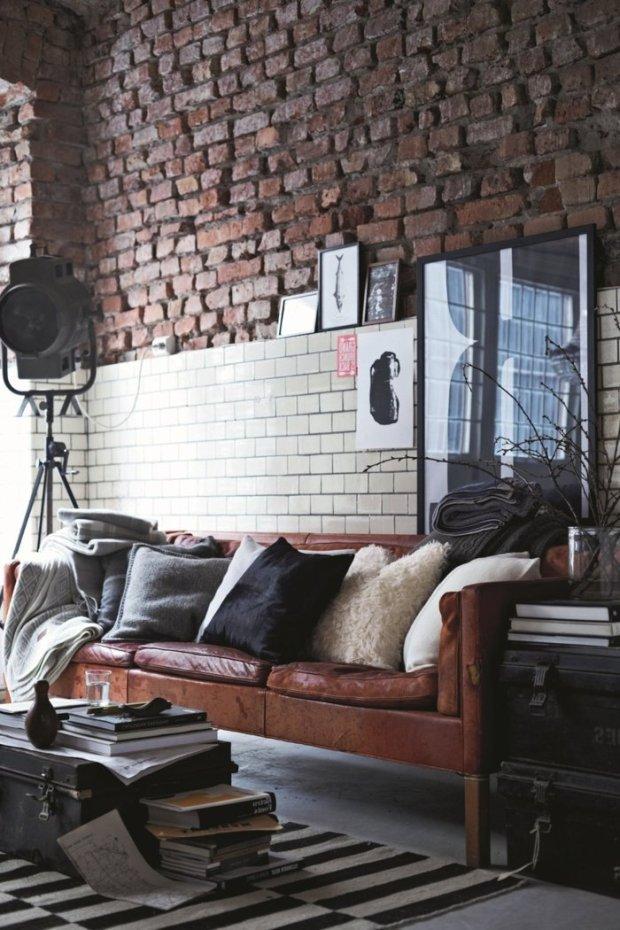 décoration new york mur brique fauteuil cuir