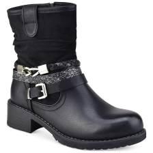 Μαύρο biker boot με διακοσμητικά λουράκια M287