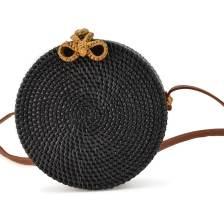 Μαύρη ψάθινη τσάντα ταχυδρόμου SANDRA
