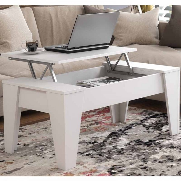 table basse relevable modele tm blanche