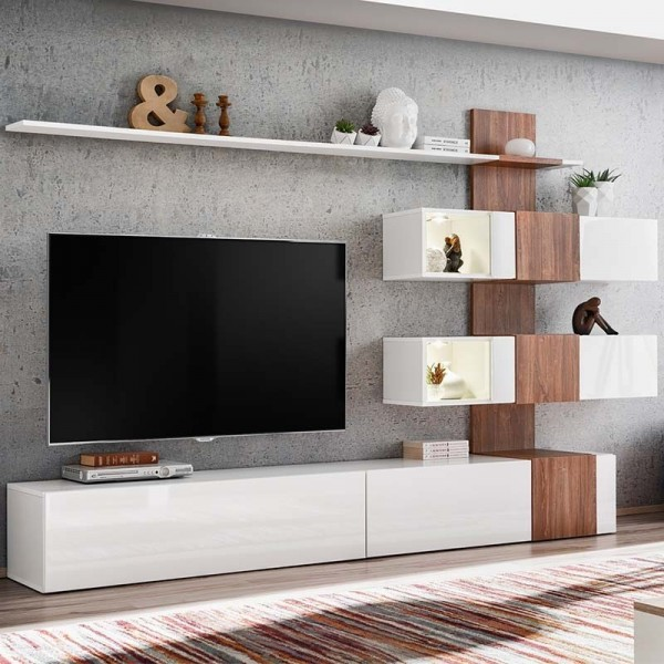 asm meuble tv blanc bois quill