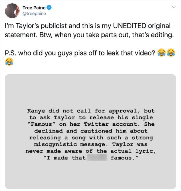 Taylor Swift's Publicist Fires Back At Kim Kardashian