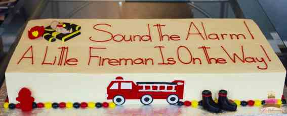 (231) Fireman Theme Baby Shower Cake