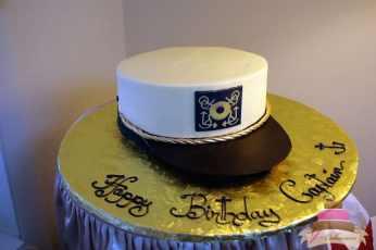 (115) Captain's Hat Birthday Cake