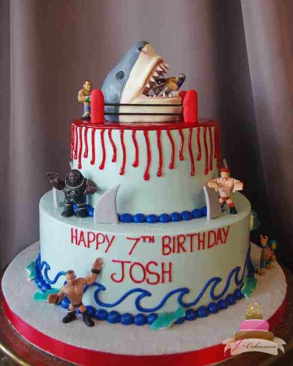 Shark Theme Birthday Cake