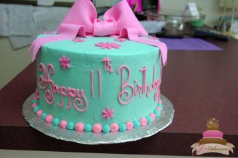 (413) Pink and Teal Birthday Cake