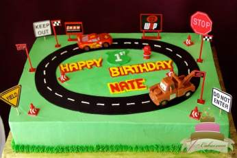 (455) Cars Racetrack Birthday Cake