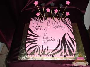 (902) Pink Zebra Stripe Sweet 16 Sheet Cake