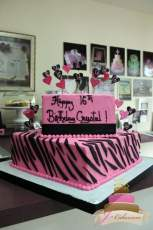 (908) Pink and Black Zebra Stripe Sweet 16 Cake
