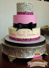 (909) Pink, Black, and White Sweet 16 Cake