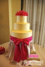 (1004) Swiss Dot Wedding Cake with Large Pink Bow
