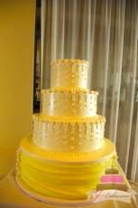 (1007) Petite Fondant Flower Wedding Cake with Draping
