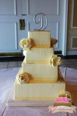 (1012) Square Swiss Dot Wedding Cake with Sugar Flowers