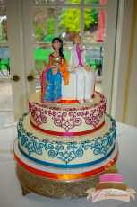(1093) Henna Scroll Wedding Cake with Custom Toppers