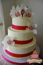 (1100) Pink Ribbon Wedding Cake with Orchids