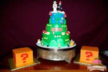 (1107) Mario Theme Wedding Cake