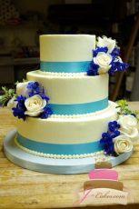 (1024) Blue Ribbon Wedding Cake