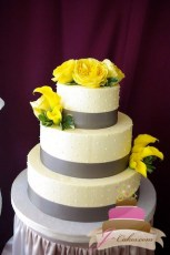 (1027) Yellow and Grey Dot Wedding Cake