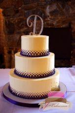 (1065) Graduated Purple Dot Wedding Cake