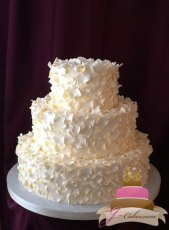 (1084) Scattered Flower Petal Wedding Cake