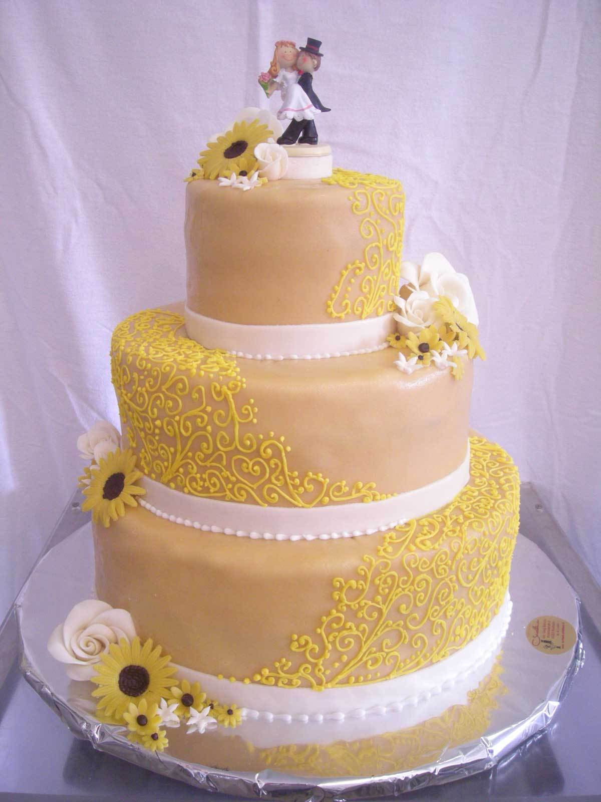HochzeitsTorte Sonnenblumen auf Jade