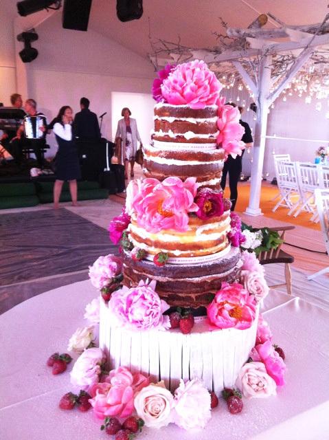 HochzeitsTorte Pinke Blten auf Jade