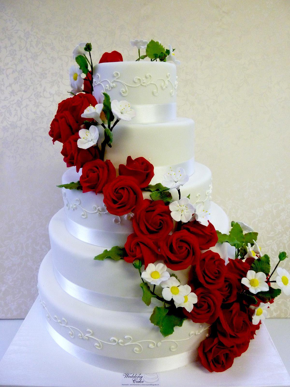 HochzeitsTorte Zuckerrosen auf Jade