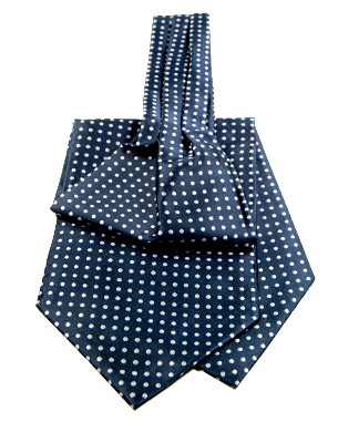 Polka Dot Non Silk Ascot Ties in Dark Blue/White