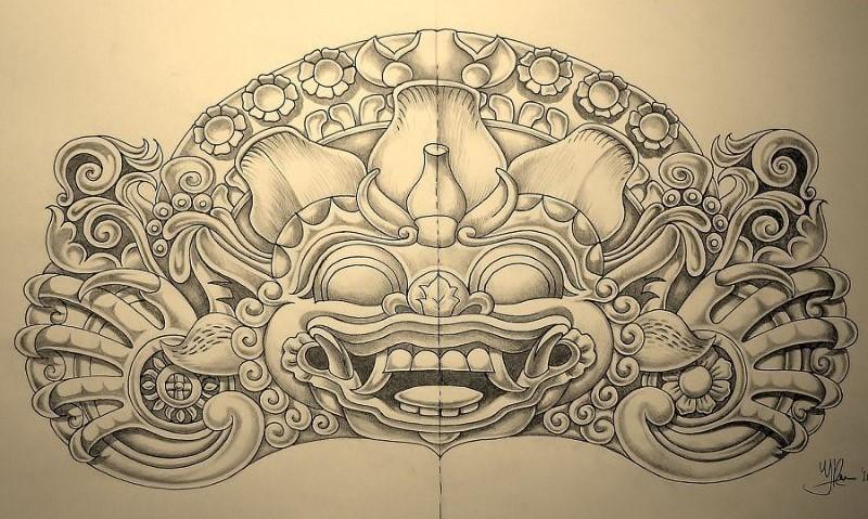 Schildering Oude Balinese mythologische kunst, getekend door hedendaags kunstenaar Jaap Roos art