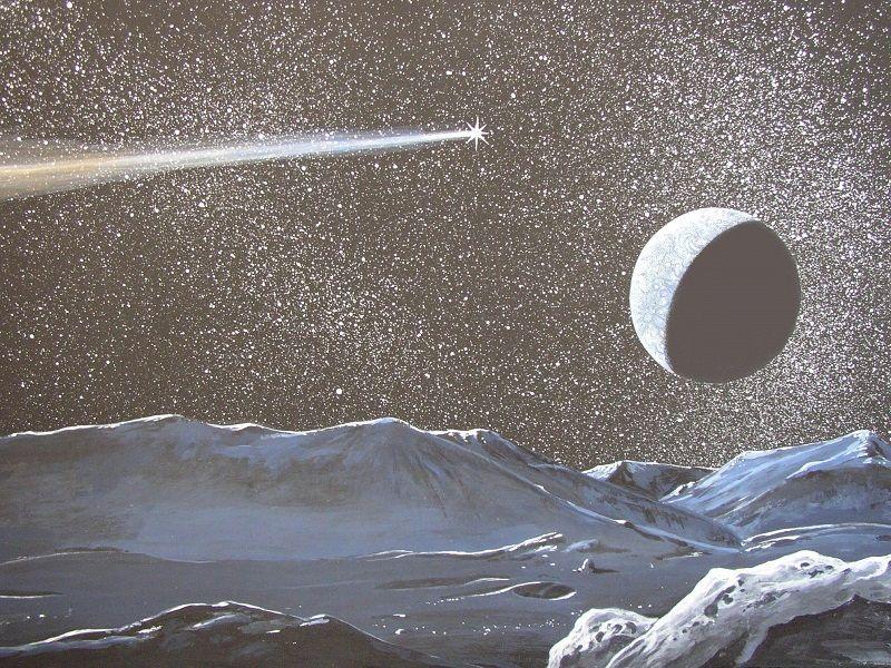 Tekening van een komeet uit het heelal