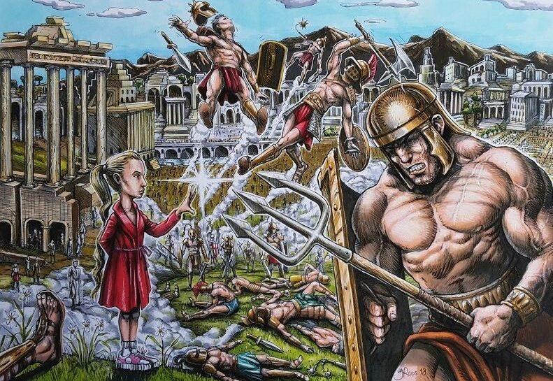 Striptekening van gladiatoren in de arena. Design van cartoonist Jaap Roos