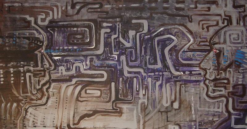 Schilderij futuristisch eigen ontwerp gezichten en computer geweven printplaat zijn abstract.