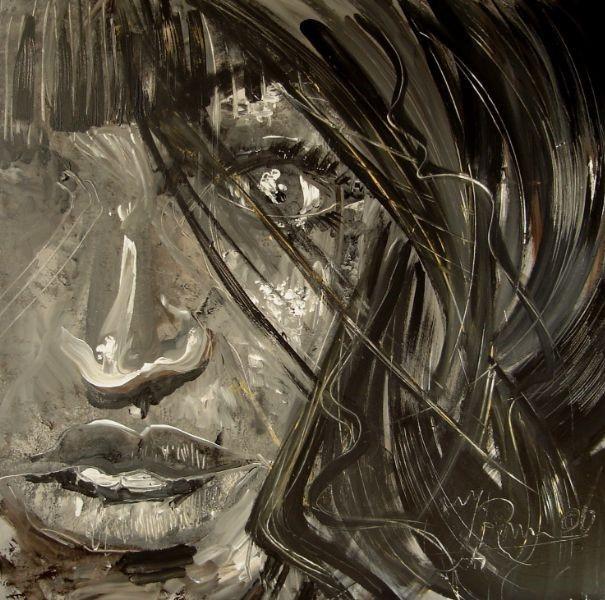Kunst Schilderij gecreëerd uit eigen fantasie, het gezicht is van een sexy vrouw. Ontworpen en geschilderd door kunstenaar Jaap Roos