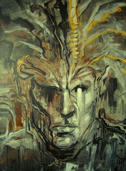 Schilderij van mannen hoofd kunstig geschilderd door Jaap Roos